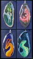 Agate Pendants by Penny-Dragon