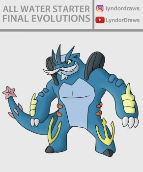 All Water Starter Final Evolutions Fusion by LyndorDraws