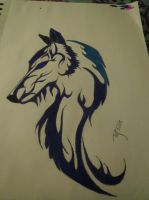 Tribal Wolf by 16RoseBlack