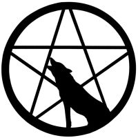 Wolf howling at Pentacle moon by whisperelmwood
