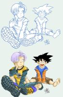 Goten and trunks color by clefchan