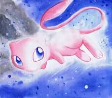 Mew pokemon watercolor on canvas painting by LightningChaser