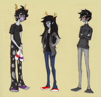 Homestuck Sketches - Gamzee, Vriska, and Karkat by abbic314