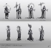 Gods of Planet Nine - character concepts by Edarneor