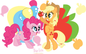 MLP: FIM -Pinkie Pie and Applejack by MeganLovesAngryBirds