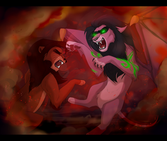Illidan Stormrage VS Kovu Commission by ShimiArt