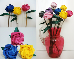 Roses Variations (origami) by Contrast-and-Colour