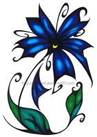 Tribal Flower - Blue by Mathelt