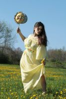 yellow sun dress hair to side2 by eyefeather-stock