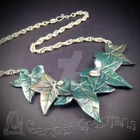 Handmade polymer clay large Ivy statement Necklace by Gempai-Creations