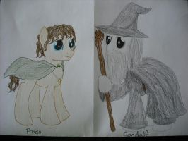 Frodo and Gandalf ponies by Qemma