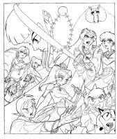 Inuyasha Strikes line art by mallaard