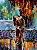 Kiss After The Rain by Leonid Afremov by Leonidafremov