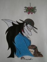 Arlong and Alice under the mistletoe by Alicetiger