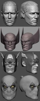 HeroHeads1 by DigiDemonsculpture