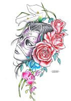 Girl with mask - tattoo flash by GoranFurjan