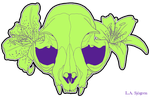 Cat Skull with Lilies by RipfangDragon