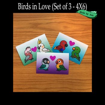 Parrots in Love 4X6 prints set by SPPlushies