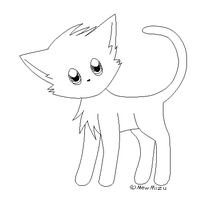 Free cat lineart (MS Paint friendly ver.) by MewMizu