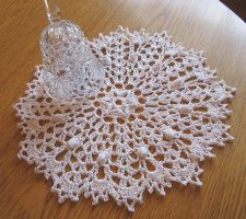 8 Inch Round Crochet Doily in White, No. 80 by doilydeas