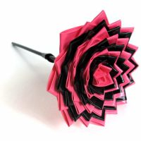 Neon Pink and Black DT Flower by DuckTape-Rose