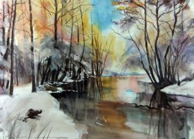 river winter by tehub
