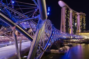 Helix Bridge and Marina Bay Sands by ZaidABRahman