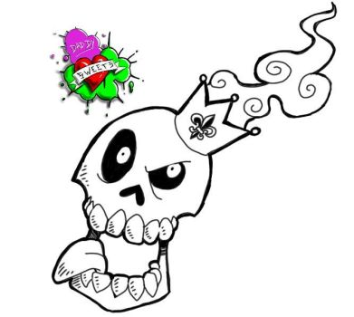 skull with crown tattoo flash by SwaggerDaddy