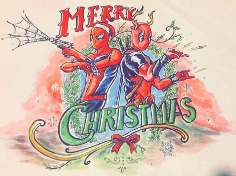 Spiderman/Deadpool Xmas Card by Backflipsimmons