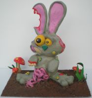 zombie bunny sculpture by richardsymonsart