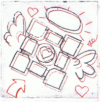 Weighted Companion Cube Print by Bleu-Ninja
