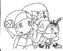Knuckles Charmy Cosmo huddled by cmara