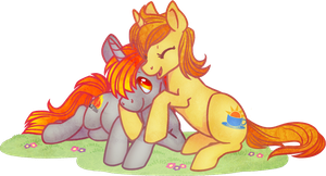 MLP: OCs Tinderbox and Peachy cuddling by Yu-Jie by FloppyChiptunes