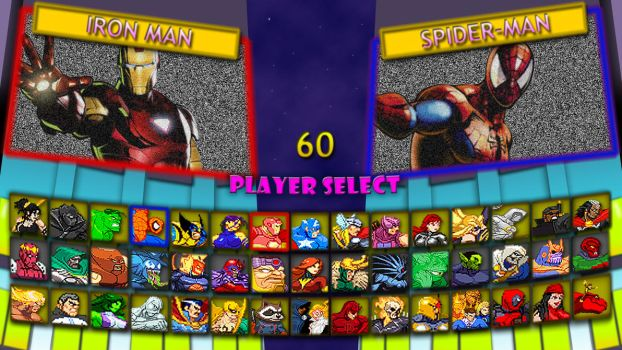 Marvel Super Heroes 2 fan character select screen by MrJechgo
