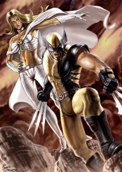 Wolverine and Emma Frost by RaffaeleMarinetti