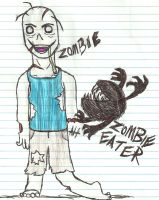 Zombie and Zombie Eater by Allisaur93