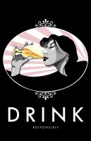Champagne drinking woman by Styleuniversal