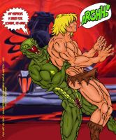Kobra Khan vs He-Man-12 RearBH to Suplex by JungleKingKazar