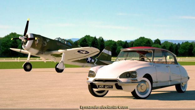 P-47 Thunderbolt and Citroen DS by Lynxander