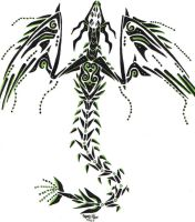 Tribal Wyrm - Black and Green by dragonmasterx10
