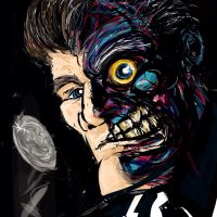 Two-face digital painting by Bat-Dan