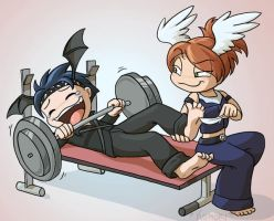 Commission- Weight Training by ChaosKomori