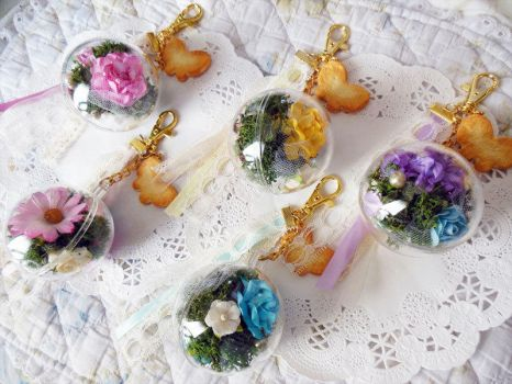 Roses and Lace Mori Girl Keychains Set 2 by KeoDear
