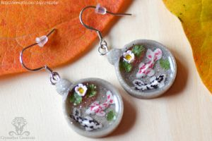 Japan koi fish earrings| Resin and polymer clay by Crystarbor
