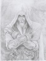 Ezio Auditore (brotherhood) pencil drawing by i-UnKnown