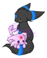 Floofy Espeon and Umbreon by Espyfluff