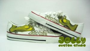 Zombie shoes by PoppinCustomArt