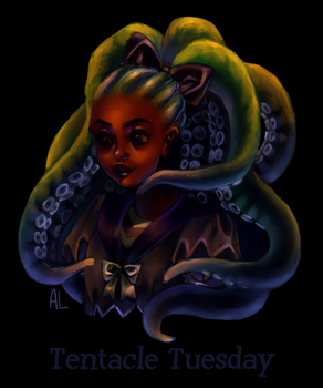 Drawlloween day 4 - tentacle tuesday by AnnyLi06