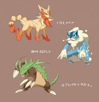 Fennekin, Froakie, and Chespin by lunasnightmare