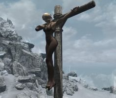 Pantyhose Princess Crucified by ThePHantom52